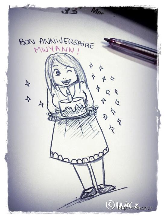 dessin d'anniversaire pour Mwyann