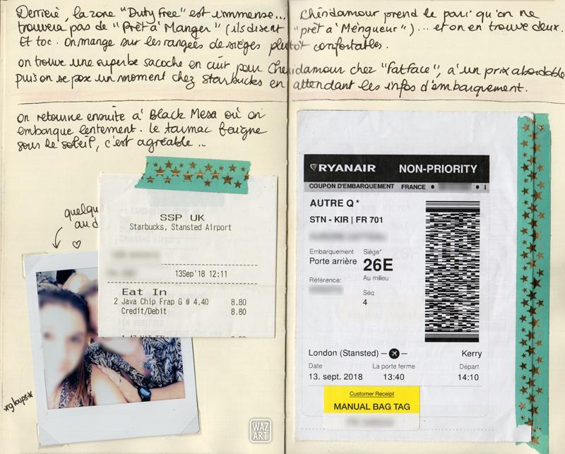 Double page de carnet avec du texte (cf plus loin), un polaroid flouté de moi et chéridamour dans l'avion, nos cartes d'embarquement et un ticket de caisse de chez Starbucks