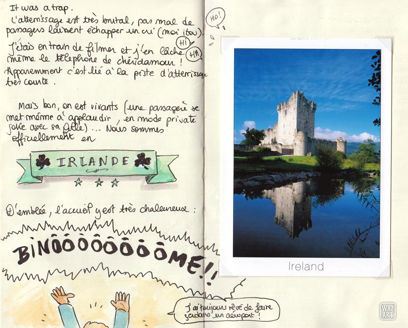"""Le haut de la tête de binome qui crie """"BINOMMME !!"""" et une carte postale de Killarney"""