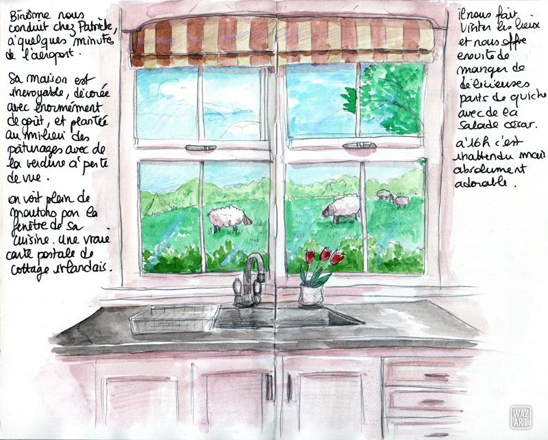 Une aquarelle double-page représentant l'intérieur de la cuisine de Patrick, le futur marié. On voit l'évier et la fenêtre, et au dehors un pâturage avec des moutons