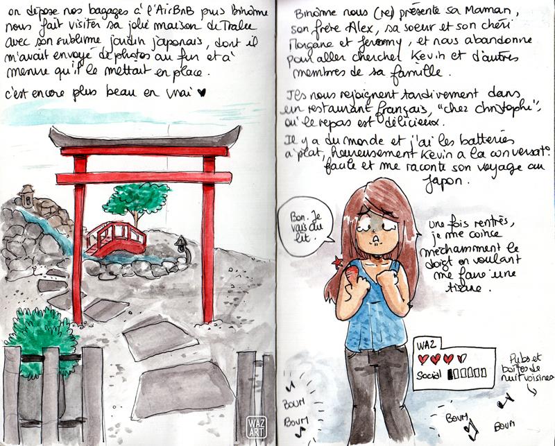 Le jardin japonais de binome avec une torii et un petit pont rouges, et moi qui chouine avec un doigt qui fait trois fois sa taille normale.