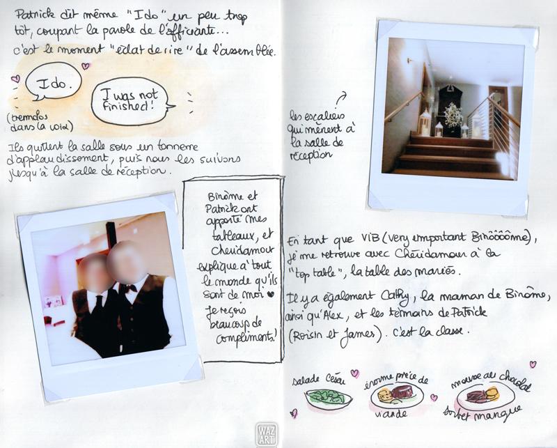 Une photo de binome et patrick, une photo de l'entrée de la salle de réception et des dessins rapides des plats du repas