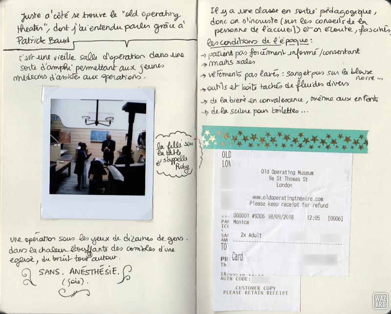 une photo polaroid, du texte et des tickets de caisse