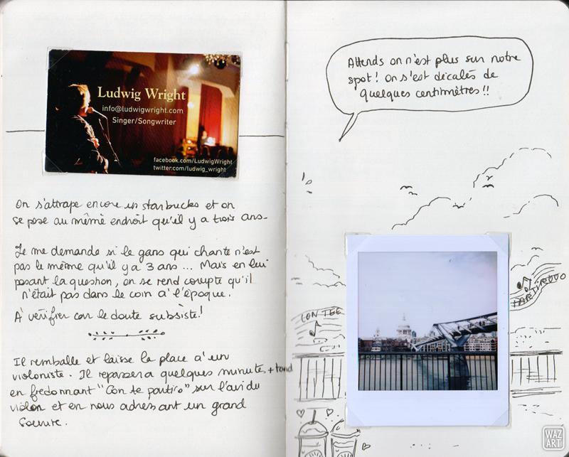 la carte de visite de Ludwig Wright, un polaroid de la tamise et de St Paul au loin, un peu prolongé avec du dessin.
