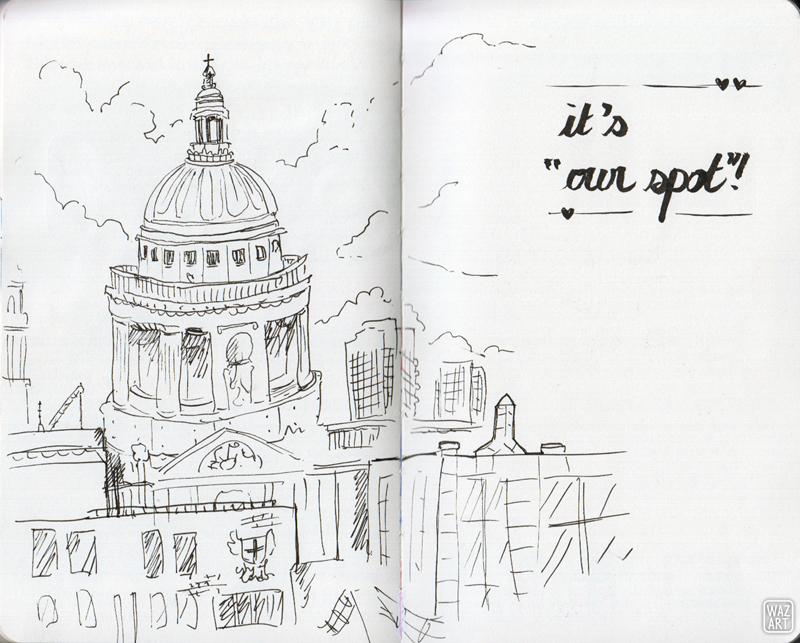 Un croquis de la vue sur St Paul, depuis l'autre côté de la Tamise au niveau du Tate Modern.
