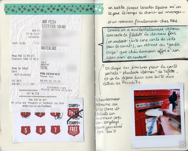 un polaroid, du texte, un tickets de caisse et une carte de fidelité de chez Mod Pizza