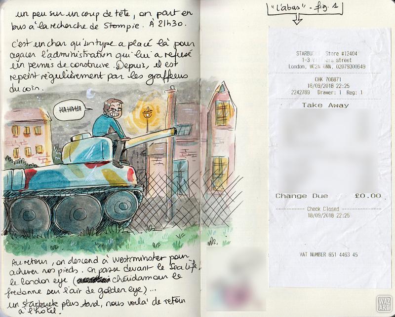 une aquarelle de Chéridamour qui se marre, assis sur le tank, le canon entre les jambes.