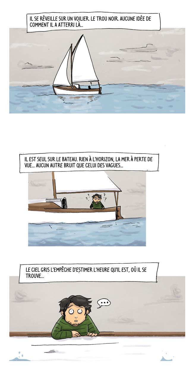 un mec qui se retrouve tout seul en mer sur un voilier sous un ciel gris intemporel
