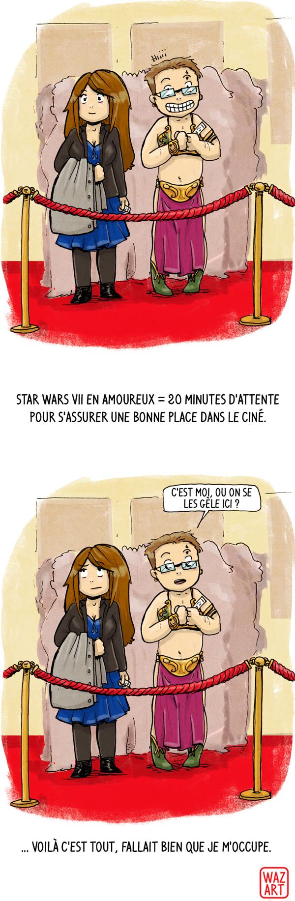 Chéridamour habillé en Leia esclave dans la file d'attente au cinéma pour le film star wars the force awakens
