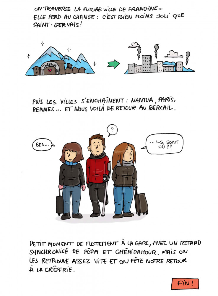 """On traverse la future ville de Frangine... Elle perd au change : c'est bien moins joli que Saint-Gervais ! Puis les villes s'enchaînent : Nantua, Paris, Rennes... Et nous voilà de retour au bercail. """"Ben... ils sont où..."""". Petit moment de flottement à la gare, avec un retard synchronisé de Pôpa et Chéridamour, mais on les retrouve assez vite et on fête notre retour à la crêperie. FIN !"""