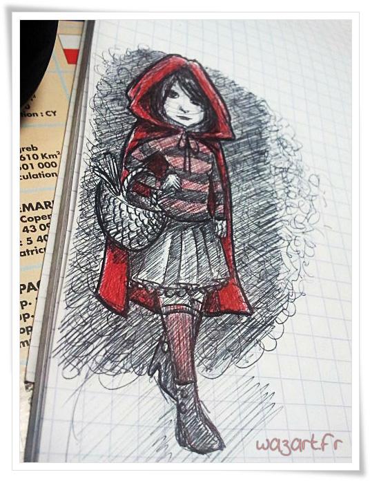 un croquis de petit chaperon rouge réalisé au bic rouge et noir