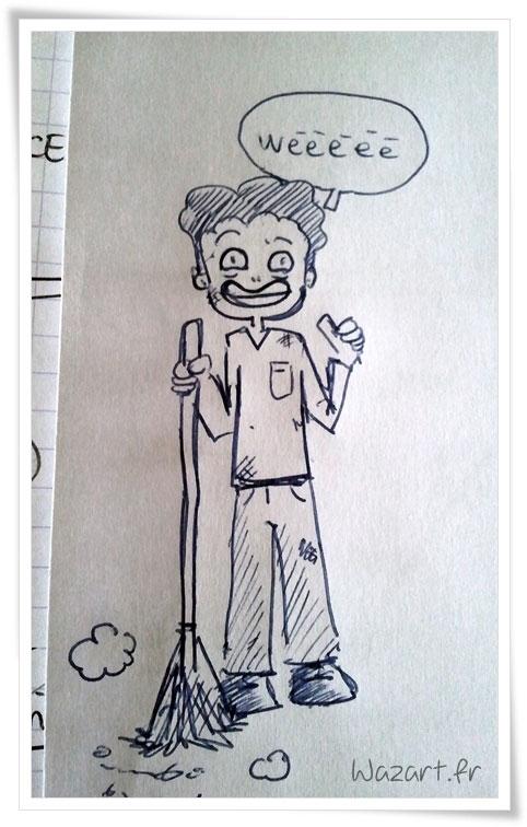 dessin d'un type avec un balai