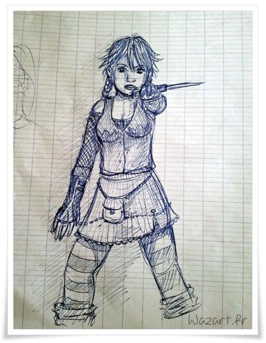 dessin d'une fille agressive