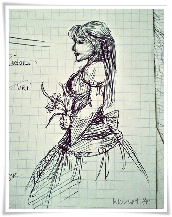 une femme qui tient des fleurs