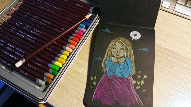croquis aux crayons de couleurs  sur papier noir