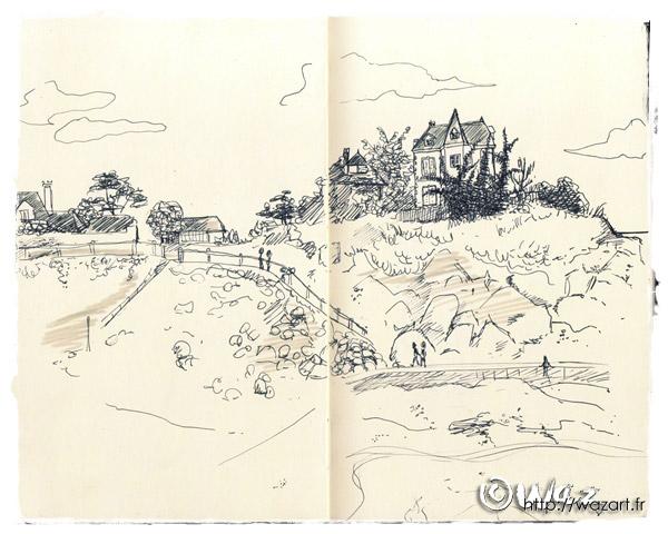 un paysage de Saint-Quay Portrieux croqué au feutre à pointe fine dans mon carnet.