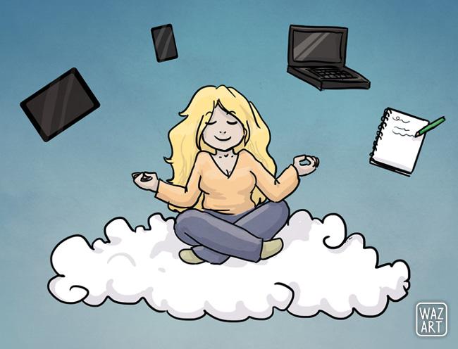 fille zen sur son cloud avec ses terminaux