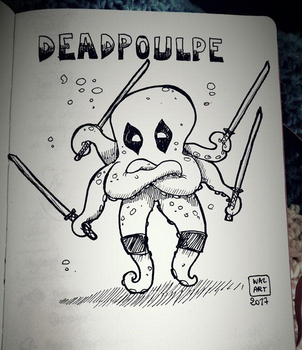 un poulpe habillé en deadpool