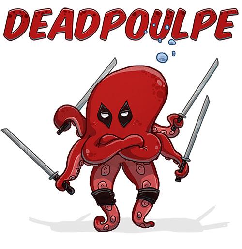 Parodie de deadpool, version deadpoulpe : un poulpe avec quatre sabres tenus par ses tentacules, habillé en rouge avec le contour des yeux noirs