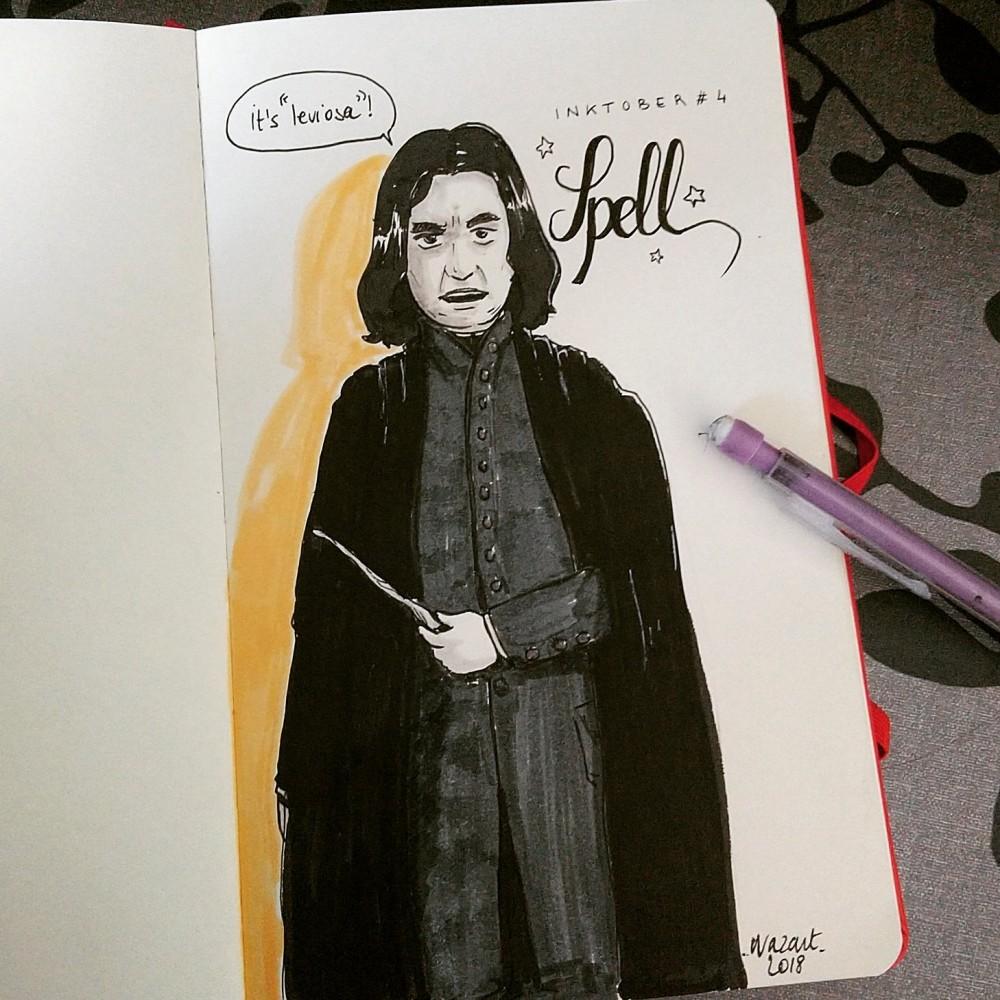 """Severus Snape (Rogue) raté, qui se tient droit en disant """"it's leviosa"""""""