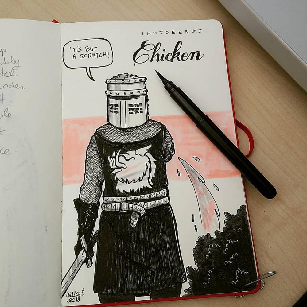 """Le Chevalier Noir du Sacré Graal des Monty Python, avec un bras en moins et qui dit """"c'est juste une égratignure !"""" en anglais."""""""