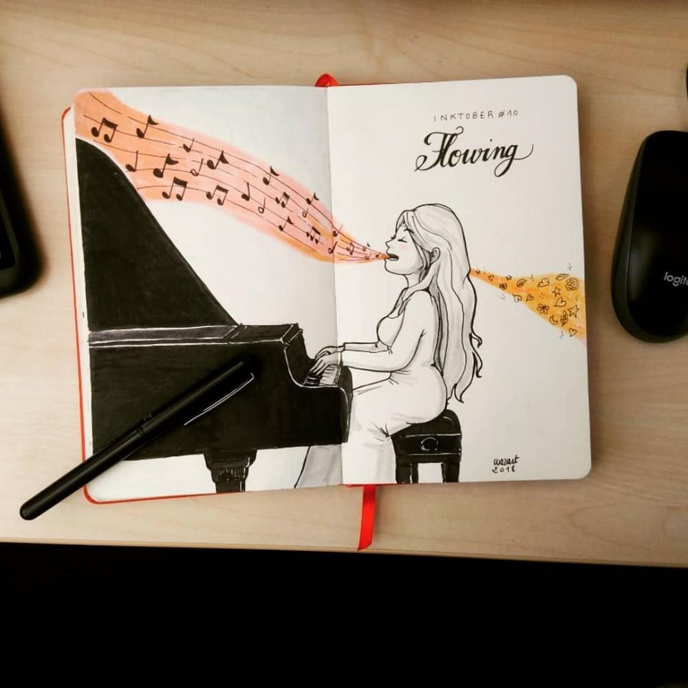 Une femme qui joue au piano et qui chante, avec des notes qui fusent de sa bouche