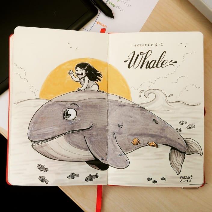 Une petite fille les cheveux au vent, qui monte une baleine