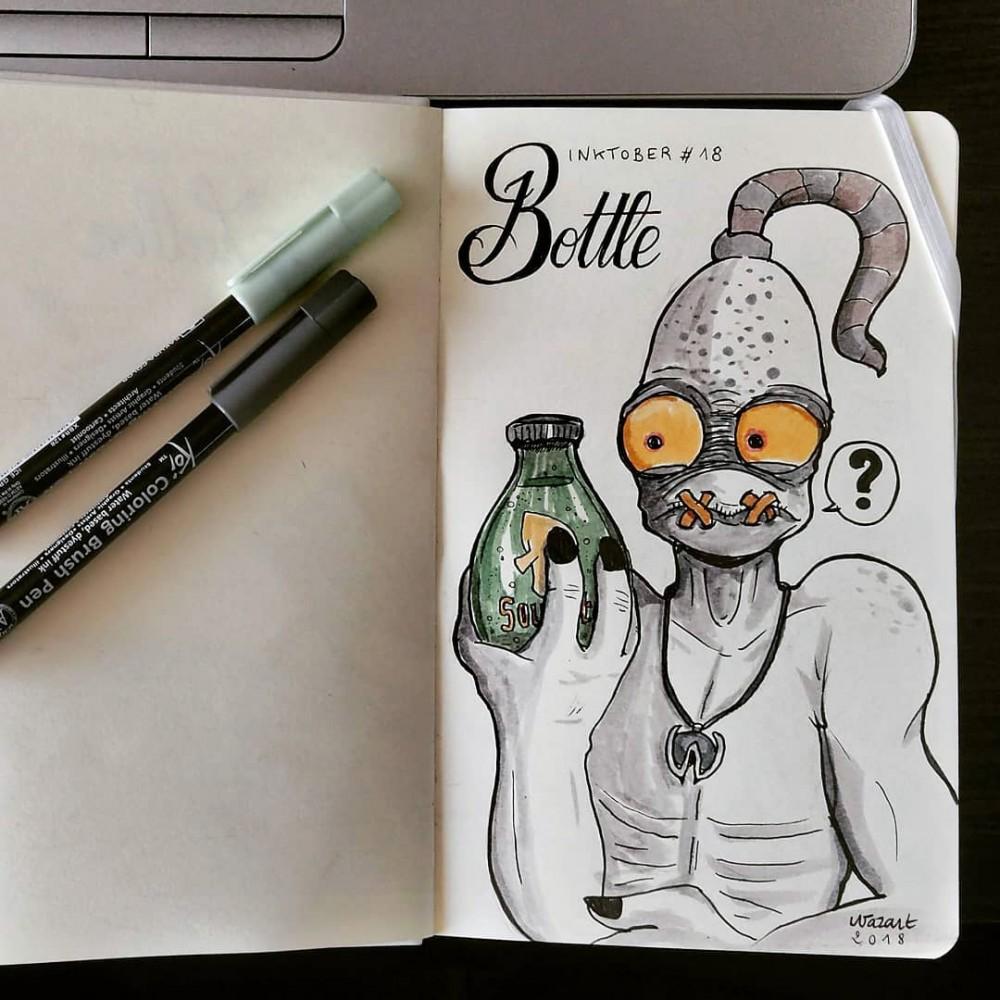 Un fanart de Abe qui tient une bouteille de bière