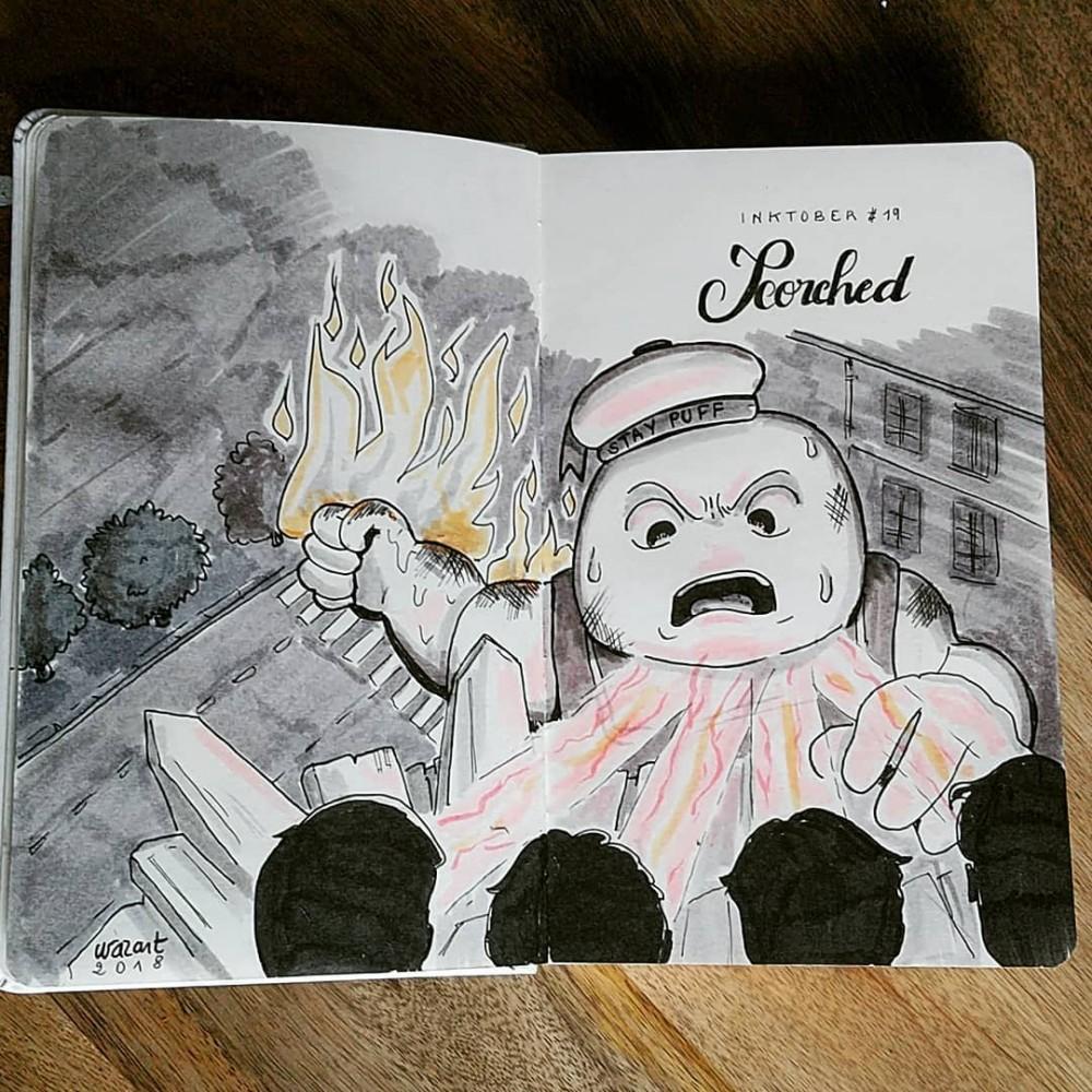 Le bibendum chamallow en feu qui grimpe sur le bâtiment dans le film Ghostbusters (mais dessiné version moche)