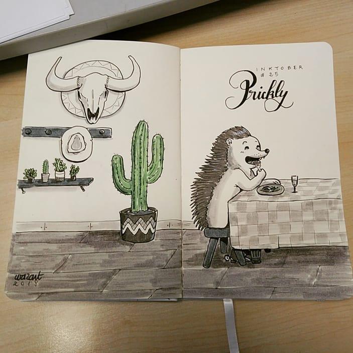 un hérisson qui mange à table, avec un gros cactus, un crâne de vache, un chapeau de cowboy et des succulentes