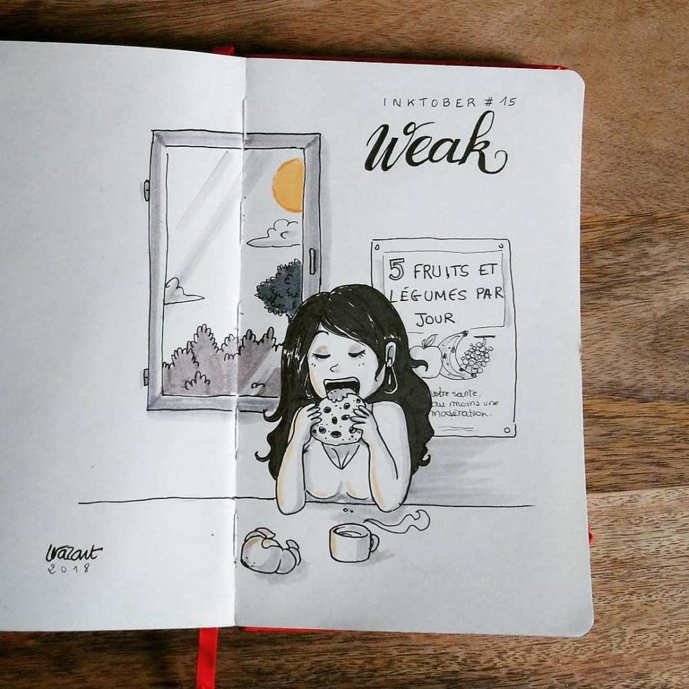 Une fille qui mange un gros cookie avec une tasse de chocolat chaud et un croissant, avec en arrière-plan une affiche sur la nutrition