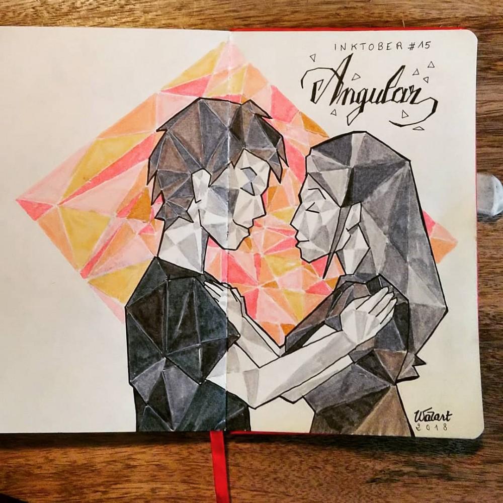 """Un couple qui se regarde amoureusement, stylisé façon """"low poly"""" (le dessin est constitué de polygone en nuances de gris / couleur)"""