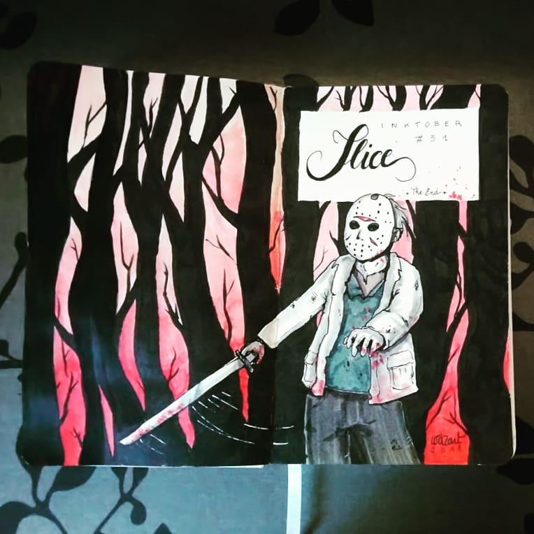 Jason Voorhes qui tient une machette dans la foret (arbres noirs sur fond dégradé de rouge)