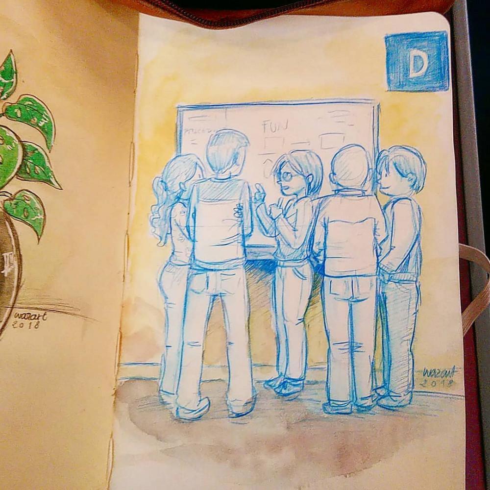 dessin de 5 personnage devant un tableau interactif, au crayon bleu et aquarelle