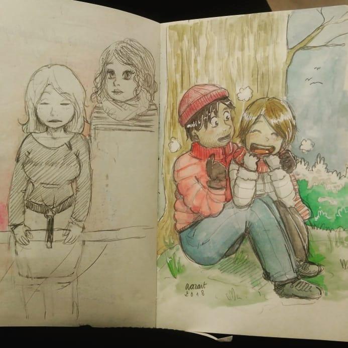photo de mon carnet, croquis divers à gauche, aquarelle à droite avec deux personnages habillées chaudement qui rigolent, assis au pied d'un tronc d'arbre