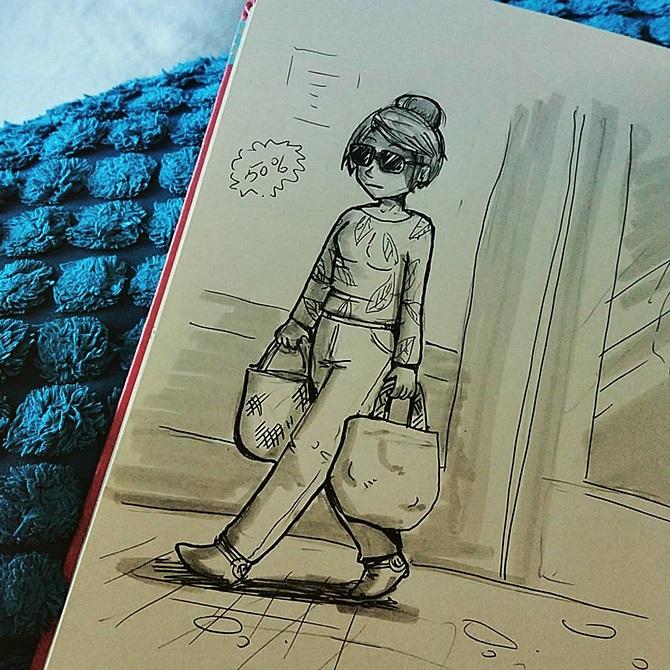 dessin au Pilot noir et feutres gris d'une femme avec des lunettes de soleil et sweet à motif de feuilles tropicales, qui marche en portant deux sacs de provisions