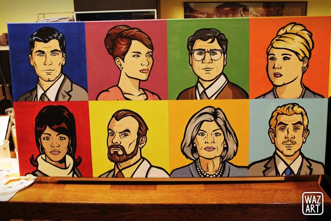 toile 100x50 avec les portraits de Sterling Archer, Lana Kane, Cheryl Tunt, Doctor Algernop Krieger, Cyril Figgis, Malory Archer, Pam Poovey et Ray Gillette