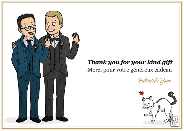 "Design des cartes : binome et patrick qui montrent leur alliance en souriant, et le texte à droite ""thank you for your kind gift"""