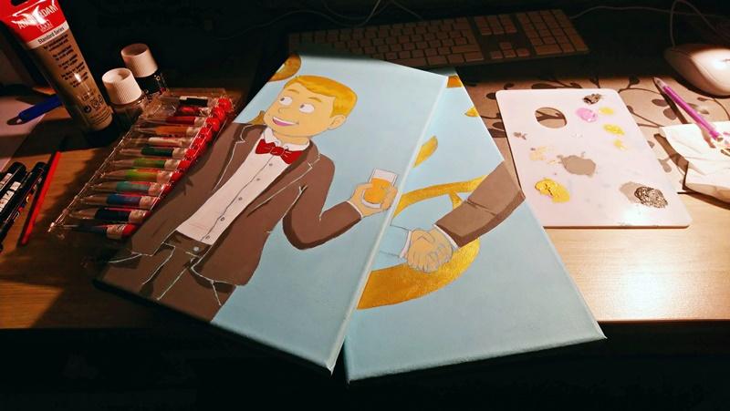 photo des toiles avec les aplats de couleur côté binome